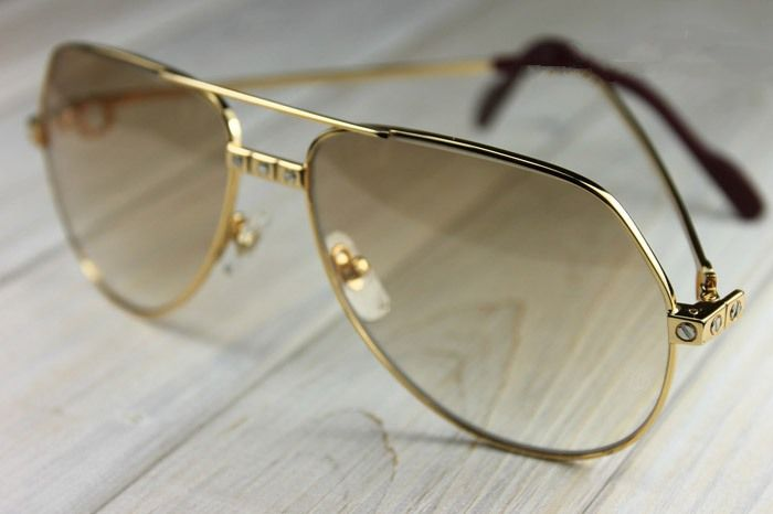83e12be35a AUTHENTIC VINTAGE CARTIER VENDOME SANTOS 18K GOLD PLATED SUNGLASSES ...