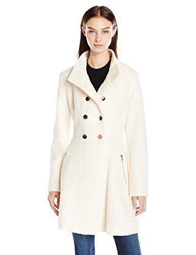 GUESS Women s Wool Boucle Military Flared Coat c33c327ab21b