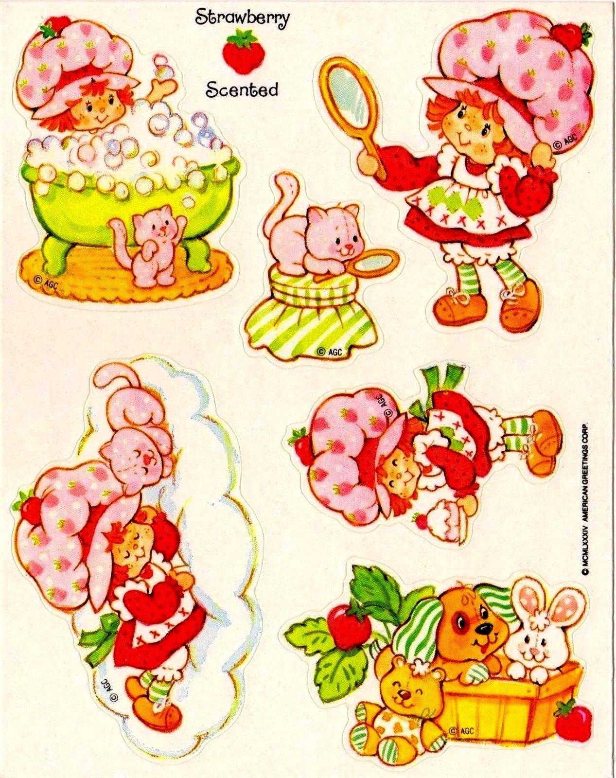 Vintage 1980s Strawberry Shortcake  Sticker Sheet