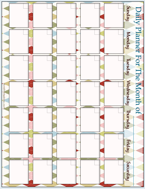Harlequin Diamonds On Another Cool Blank Calendar Template For