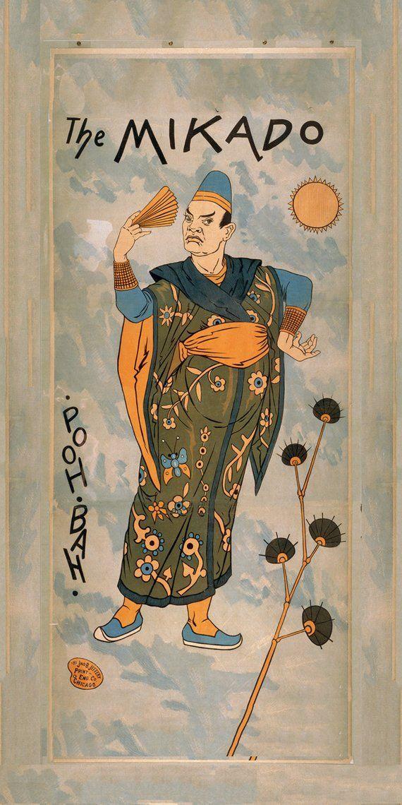 Theatrical Poster - The Mikado Print - Gilbert and Sullivan Wall Art Print - Opera Art - Theater Gift Print - Opera Print - The Mikado - #art #Gift #gilbert #mikado #opera #poster #PRINT #sullivan #Theater #theatrical #Wall