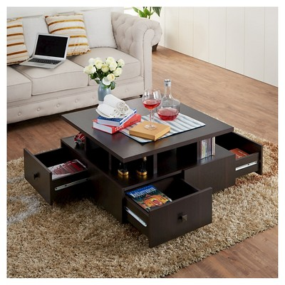 Campfield Modern Tiered Design Coffee Table Espresso (Brown) - Homes ...