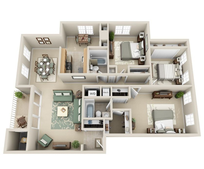 3d Furnished Small House Design Plans Sims House Design House Layout Plans