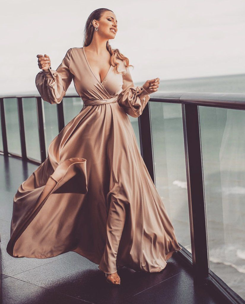 Champagne Dream Satin Gown Long Sleeve Bridesmaid Dress Prom Dresses Long With Sleeves Bridesmaid Dresses Long Champagne [ 1024 x 826 Pixel ]