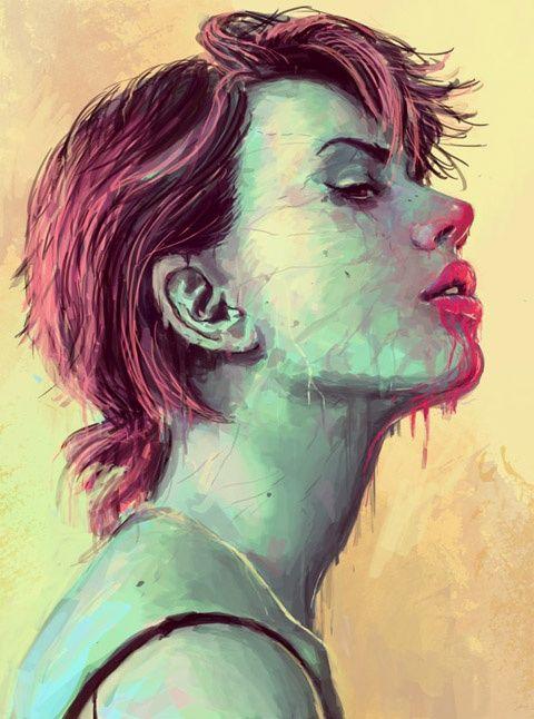 Pin by Sami on Fun   Digital portrait, Face illustration