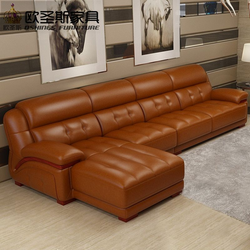 2019 New Arrival Orange Leather Sectional Sofa Chair Leather ...