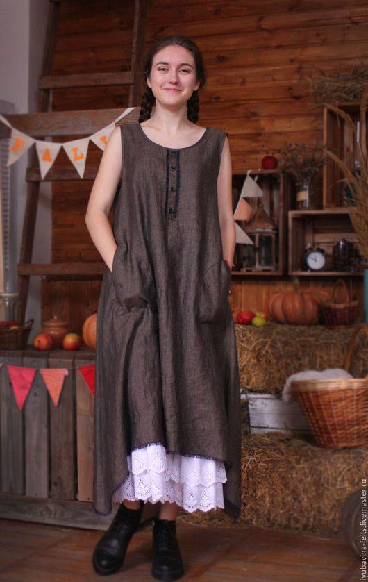 Платья ручной работы. Ярмарка Мастеров - ручная работа. Купить Платье  сарафан из льна Арт.04, бежево-черное,46- 50 размер. Handmade. e66bdf62533