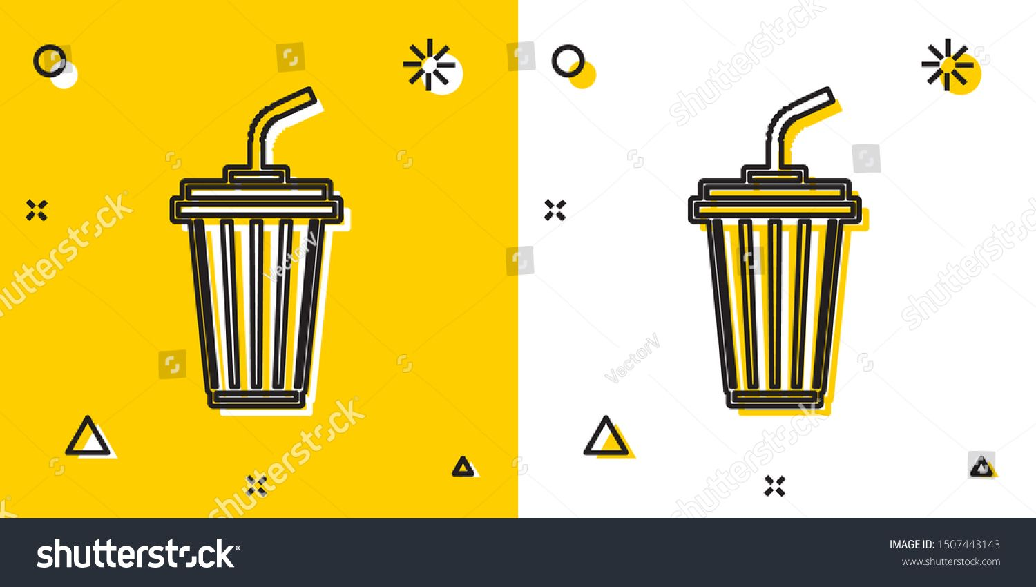 Black Glass with water icon isolated on yellow and white background Soda drink glass with drinking straw Fresh cold beverage symbol Random dynamic shapes Vector Illustrat...