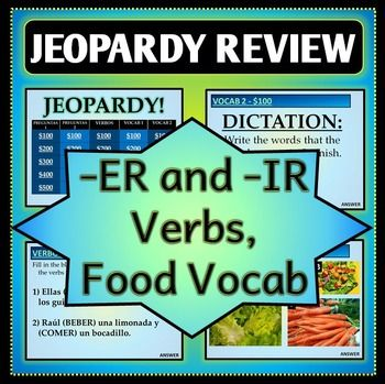 Spanish 1 - Jeopardy Review Game - Food Vocab and -ER & -IR