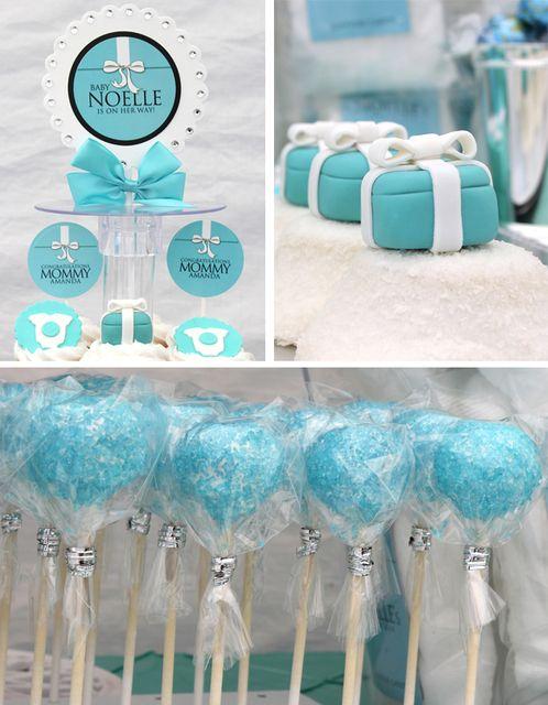 Fantastic Tiffany's desserts especially those fondant Tiffany's boxes #babyshower #desserts #babyshower