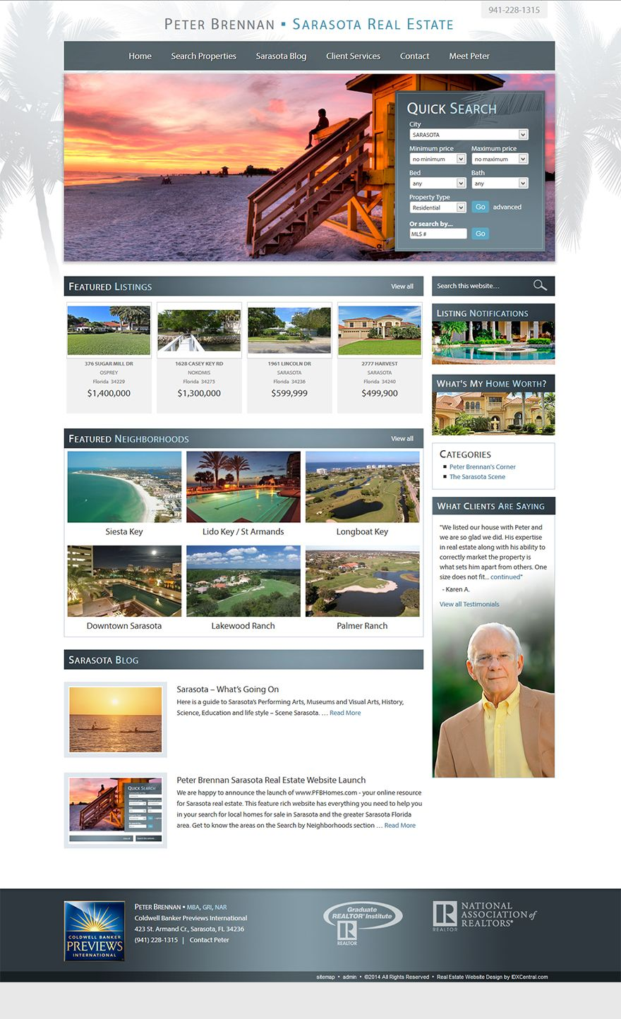 Florida Custom Real Estate Website Built On Wordpress For Realtor Peter Brennan Includes Sarasota Real Estate Real Estate Website Real Estate Website Design
