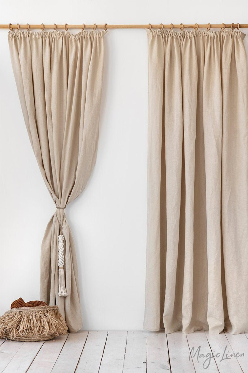 Pencil Pleat Linen Curtain Panel Washed Linen Curtains With Header Tape Custom Hook Drapes In 2020 Linen Curtains Linen Curtain Panels Pencil Pleat