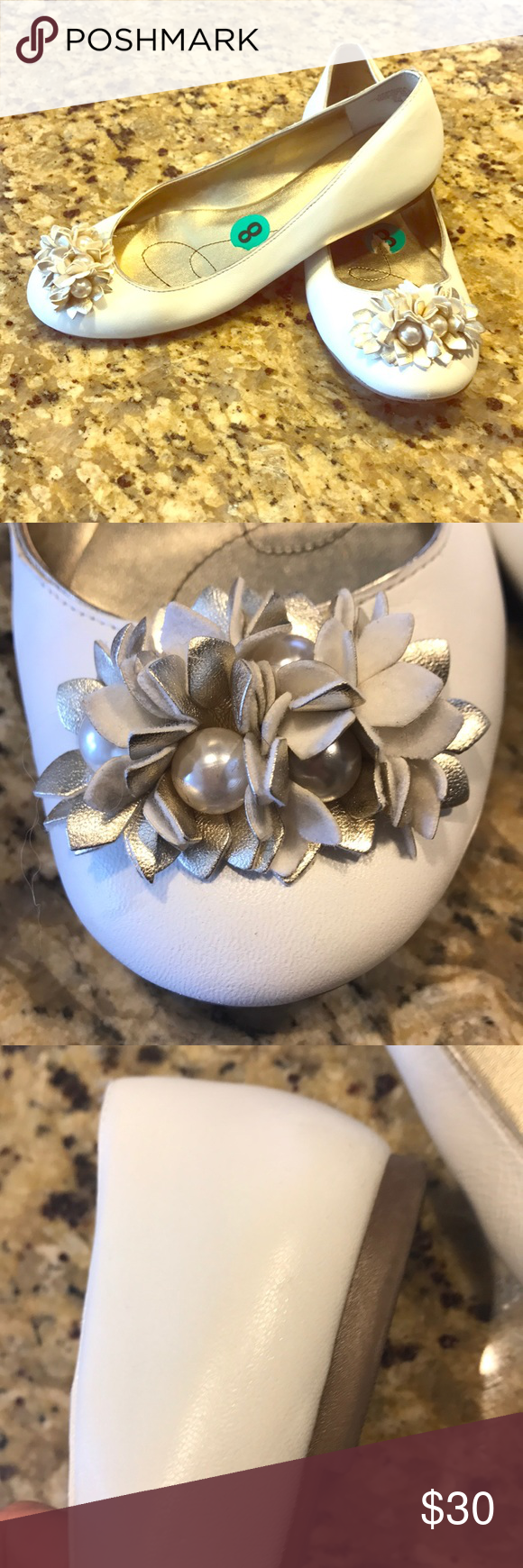 Anne Klein white ballet slippers Anne Klein size 8, white ballerina flats with white and gold and white decorative florets. Only worn a few times. And in great condition. There are some scuffs that can be covered with shoe polish. I have included detailed photos. Anne Klein Shoes Flats & Loafers