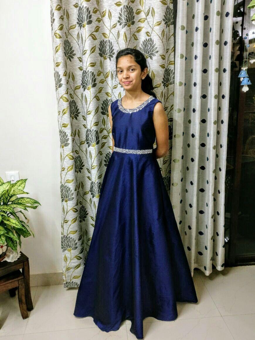 Beaded blue taffeta long party gown | mom & kids dresses | Pinterest ...