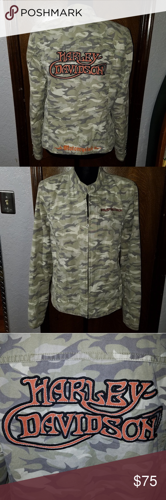 f49b20015011f Harley Davidson Camo Jacket, Size XL Authentic Hatley Davidson Hard to Find Camo  Jacket Large Harley Davidson Decal on Back and Harley Davidson Embroidered  ...