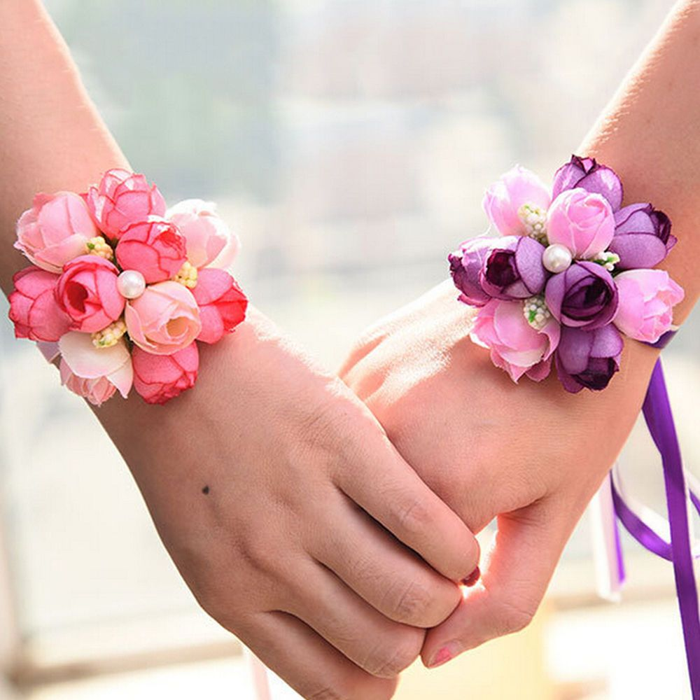 Wedding Beads Roses Ribbon Corsage Bridesmaid Wrist Party Flower ...