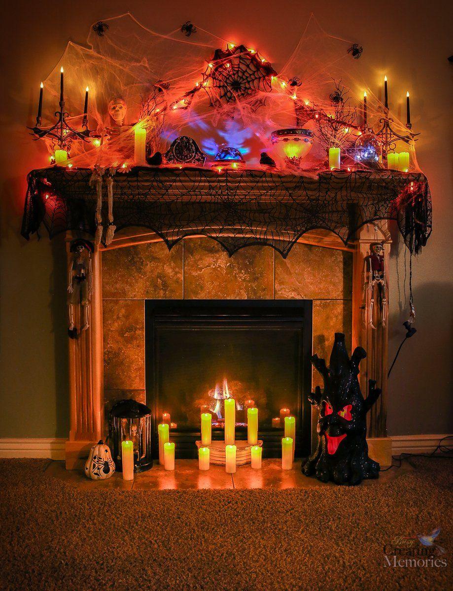 Spooky Halloween Fireplace Mantel Ideas Decor for Mantels