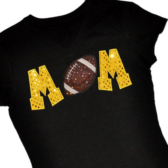 59618fd8d Custom FOOTBALL Mom Sequin Applique Shirt...Personalize with Team or Player  Name or Jersey Number