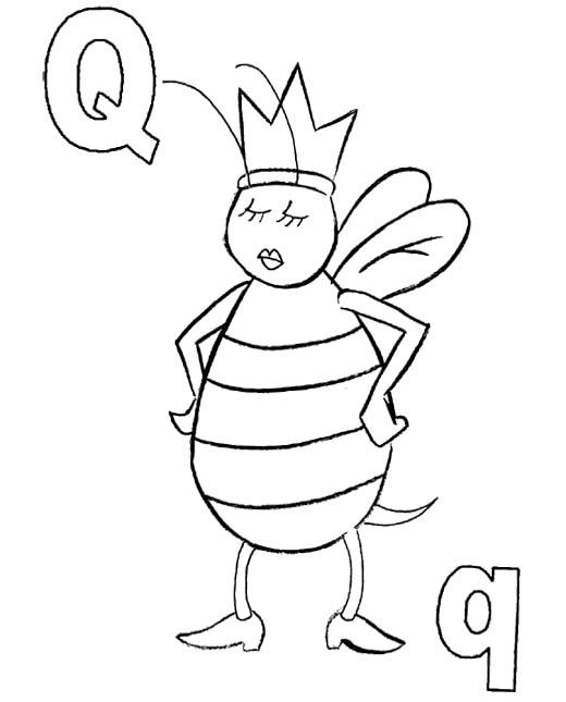 Q For Queen Bee Coloring Pages