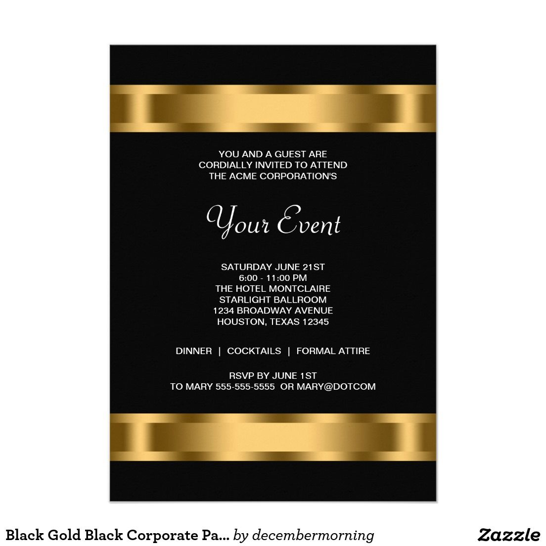 Black gold black corporate party event invitation corporate party black gold black corporate party event event invitation templates invitation cards corporate invitation wajeb Gallery