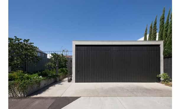 Modern Design For Black Wooden Garage Cover With Nice Planters For