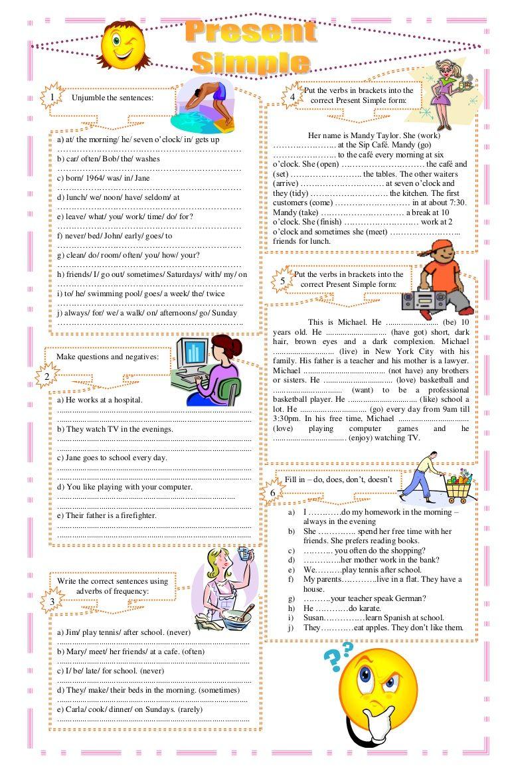 worksheet Present Simple Worksheets Esl education pinterest present simple exercises worksheet free esl pr