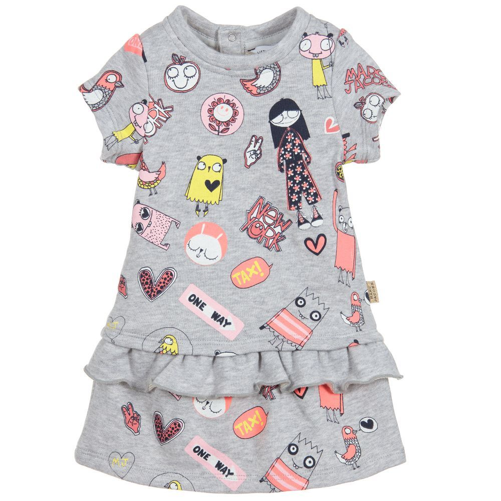 00d7f40ddb4 A grey marl cotton jersey dress for younger girls by Little Marc Jacobs. It  has a fun pink and yellow 'Miss Marc' print, and it fastens with poppers on  the ...
