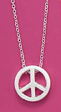 16+3 inch Silver Tone Peace Sign Fashion Necklace $14.99 http://www.silvermessages.com/sterlingsilverjewelry/category/silver-plated-necklaces.html