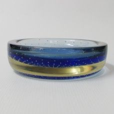 Cased large shallow blue controlled bubble glass dish/bowl/ashtray, Galliano Ferro? £23 incl P&P from www.coco-collectables.co.uk