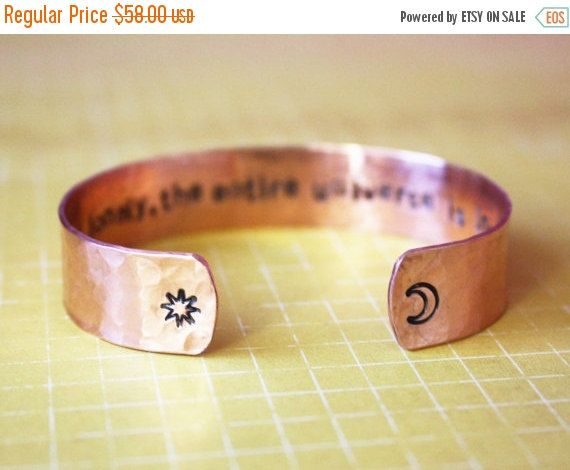 CLEARANCE do not feel lonely the entire universe is inside you rumi crescent moon copper cuff, hand stamped quote bracelet, RTS CC004