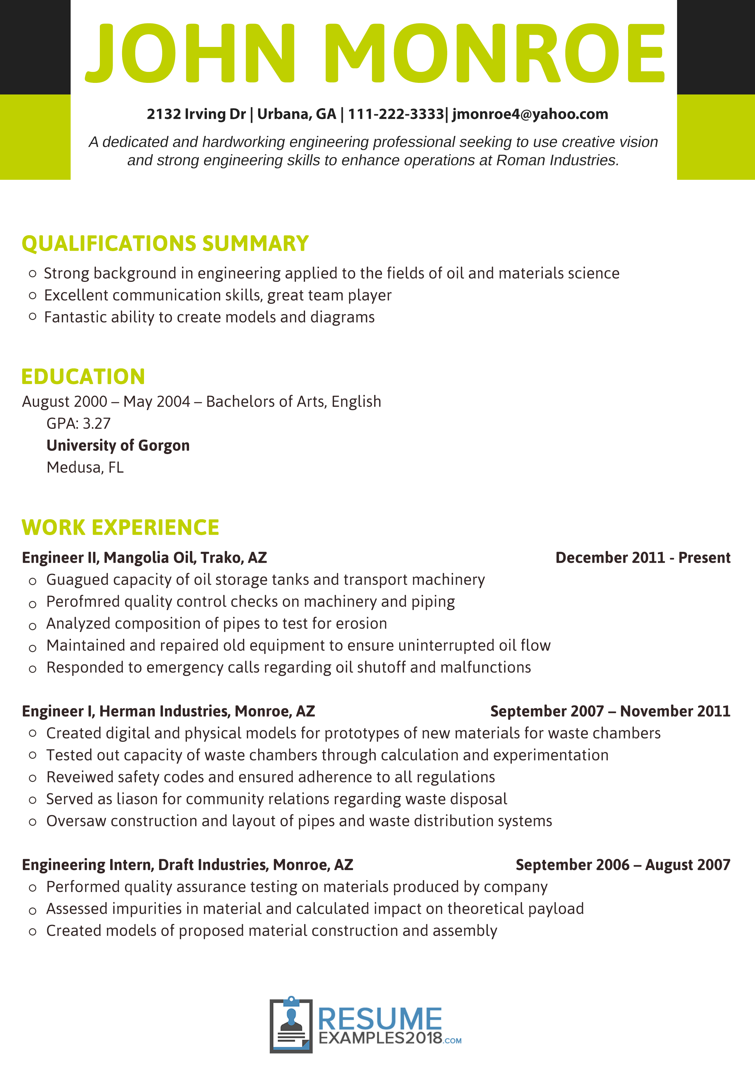 2018 Engineering | Resume Examples Simple | Professional resume ...