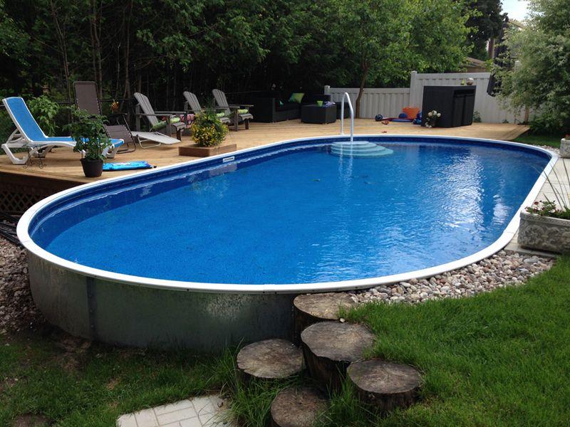 Semi Inground Pools Rideau Pools Inground Pool Landscaping Backyard Pool Landscaping Swimming Pools Backyard