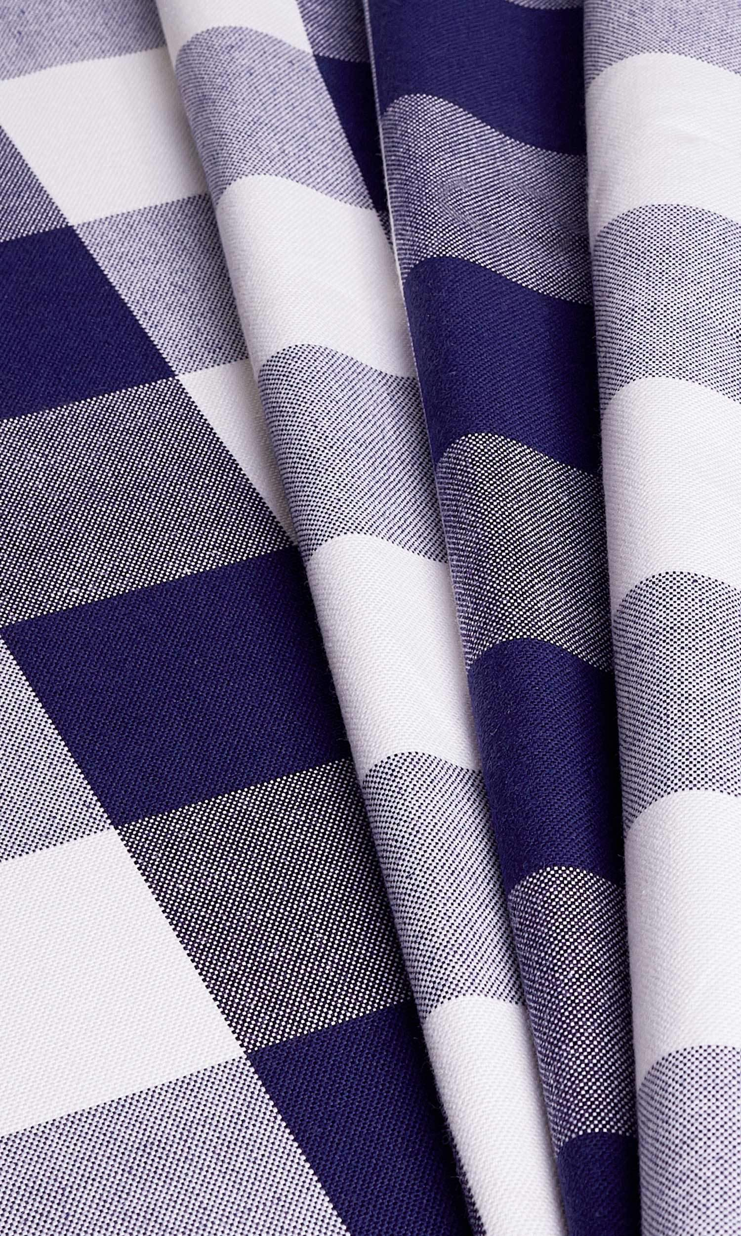 'Kelly' Fabric Swatch (Navy Blue) Check curtains, Fabric