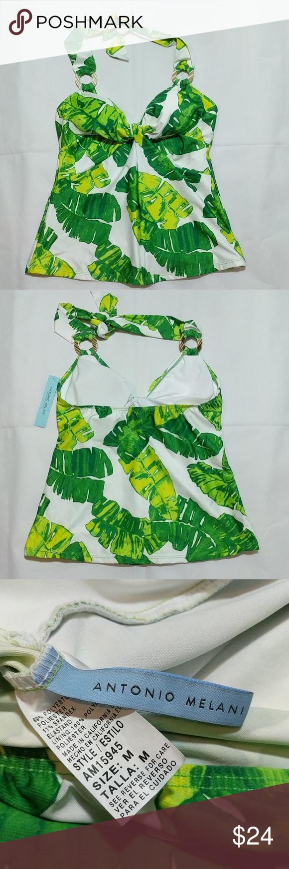 bb28525612 Antonio Melani Tankini size medium NWT Palm leaf print🐬 Top Only🐬 ANTONIO  MELANI Swim