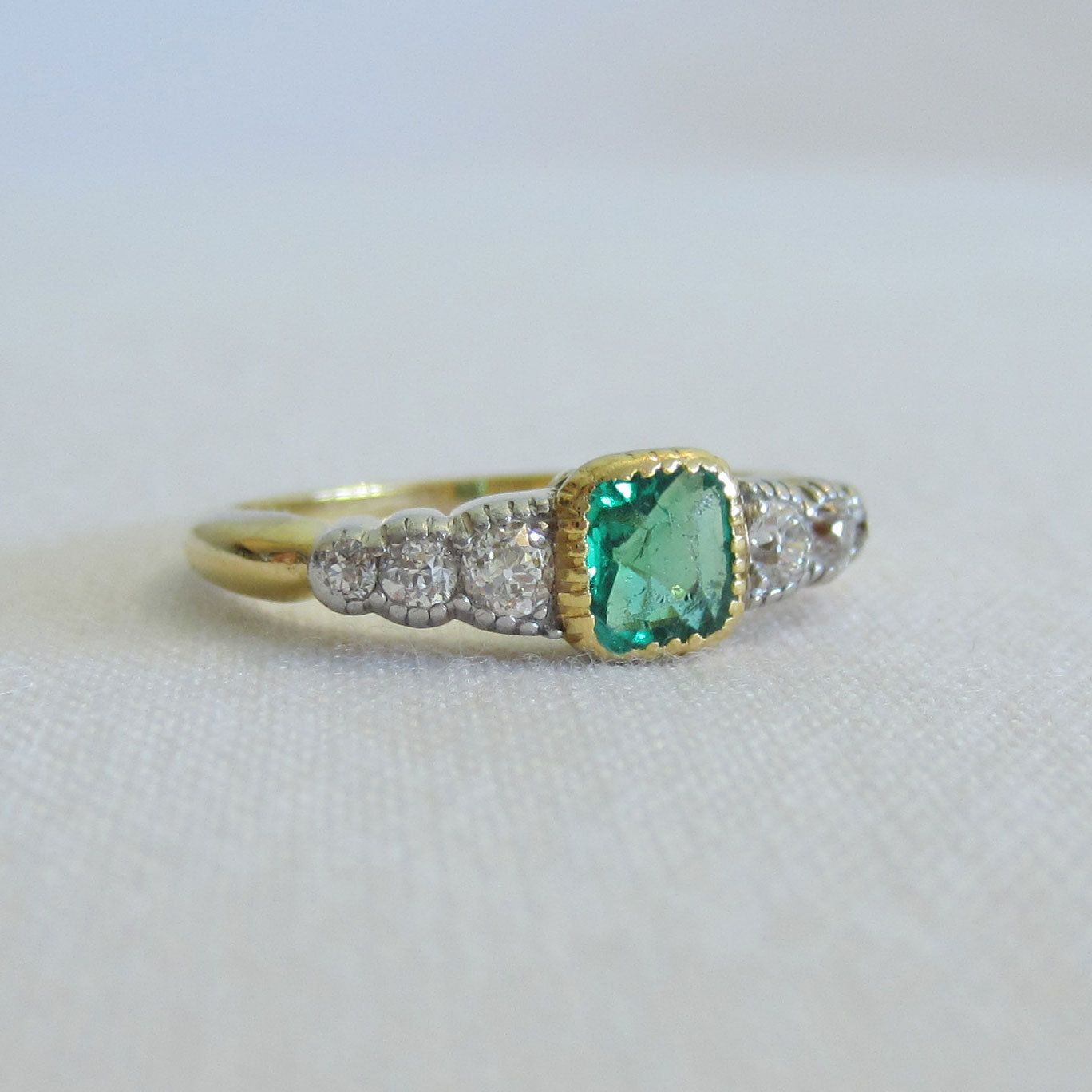 Antique Emerald and Diamond Engagement Ring. Beautiful