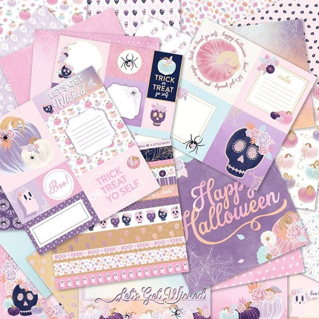 Pinkaboo Paper Pad 12 X 12 Cardstock 48 Pcs Pastel Halloween Fall Pink Gold Foiled Papers Card Making Halloween Paper Crafts Paper Pads How To Make Planner