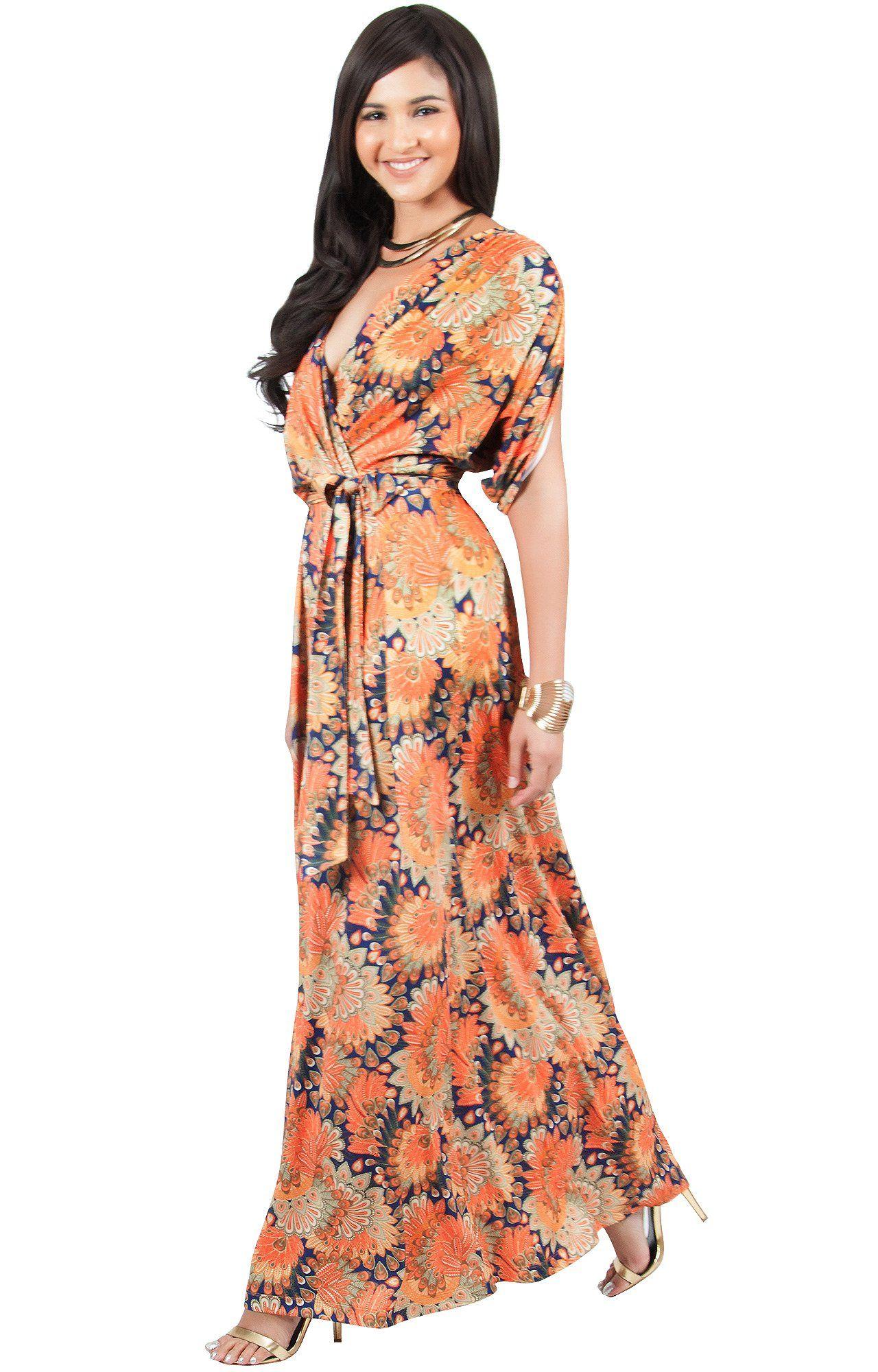 Koh koh plus size womens long bohemian boho short sleeve summer