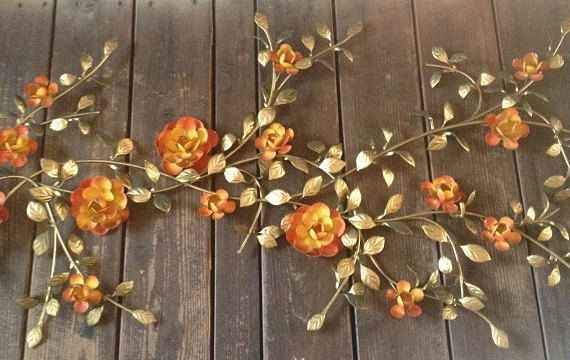 Vintage Metal Roses Wall Decor Metal Art Wall Hanging 1970s Orange Flowers Wall Sculpture Interior Or Exterior Metal Wall Decor Metal Roses Hanging Wall Art