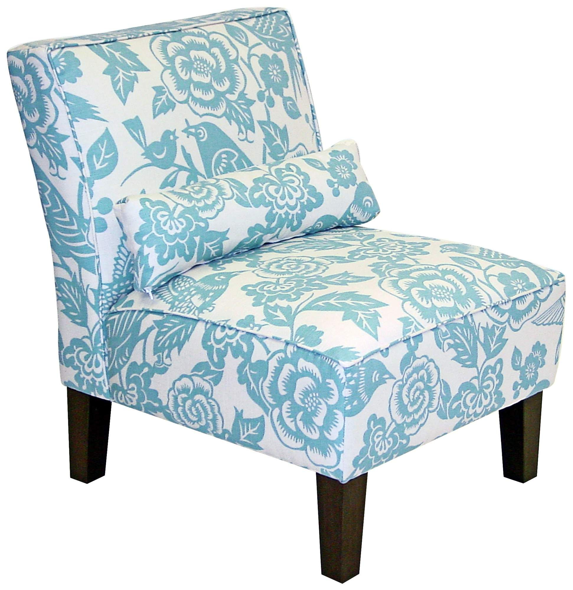 Sky Blue Floral and Canary Print Arm Chair
