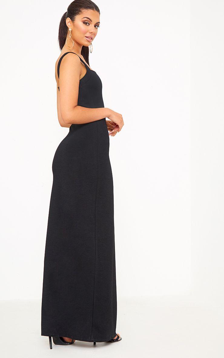 Black Straight Neck Maxi Dress Maxi Dress Girls Maxi Dresses Dresses [ 1180 x 740 Pixel ]