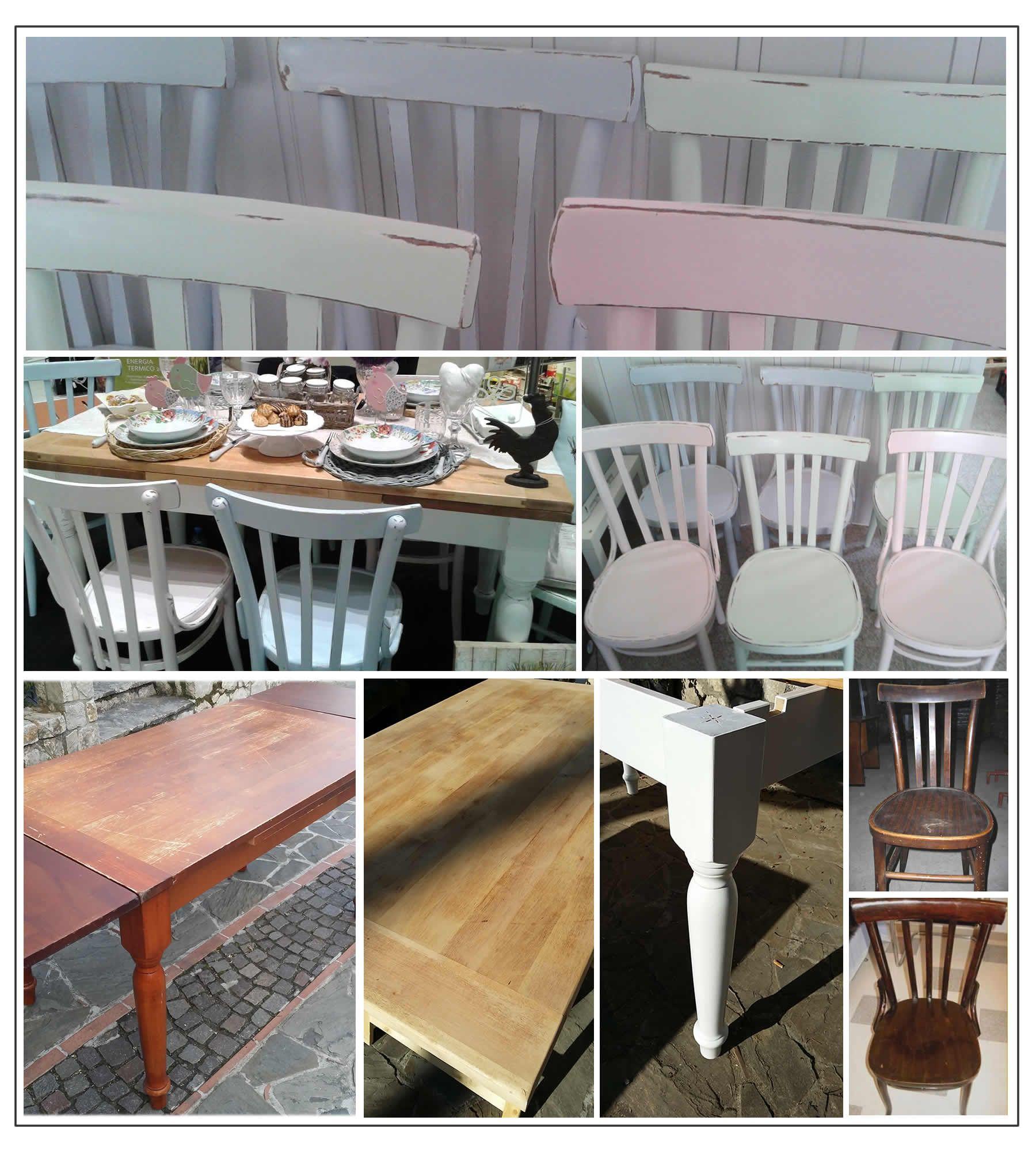 vecchie sedie e vecchio tavolo recuperate in stile shabby
