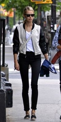 shop Karolina Kurkova's exact outfit, including her chic baseball jacket $120