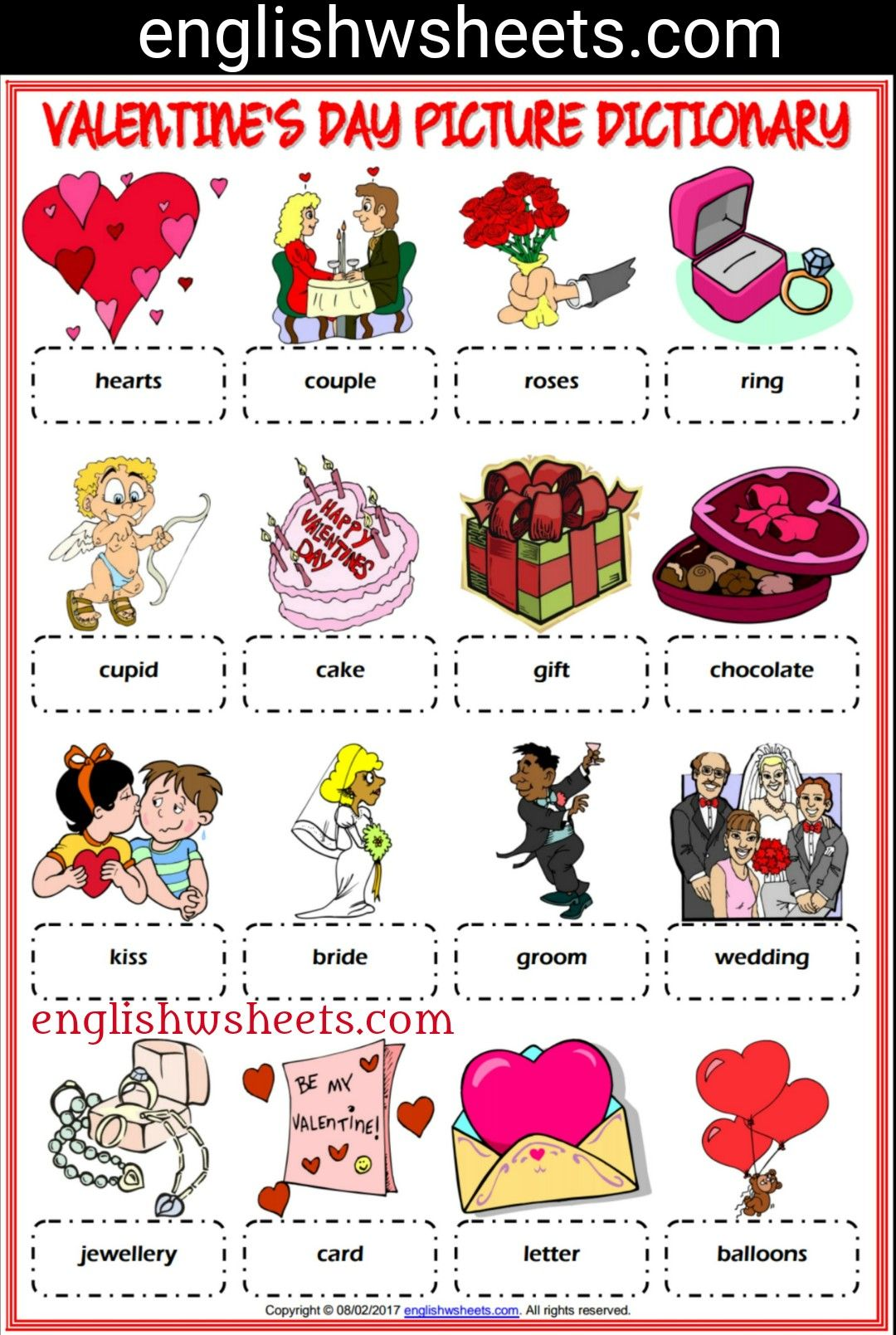 Valentines Day Esl Printable Picture Dictionary For Kids