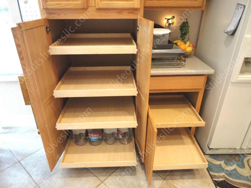 Slide Out Pantry Shelves With Maple Bottoms By