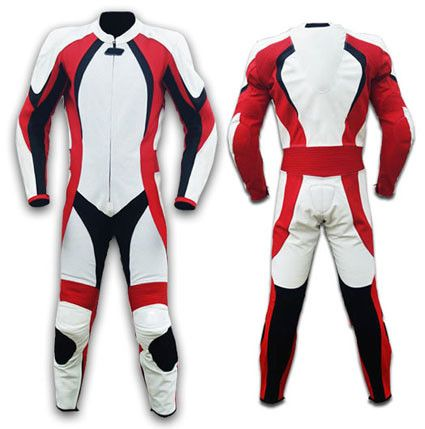 Red And White Motorcycle Leather Suit Lusso Leather 1