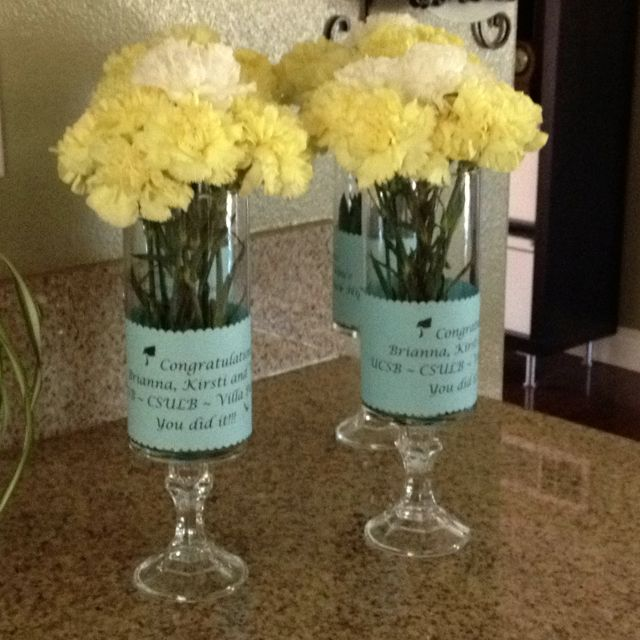 Graduation centerpiece with vases from dollar tree
