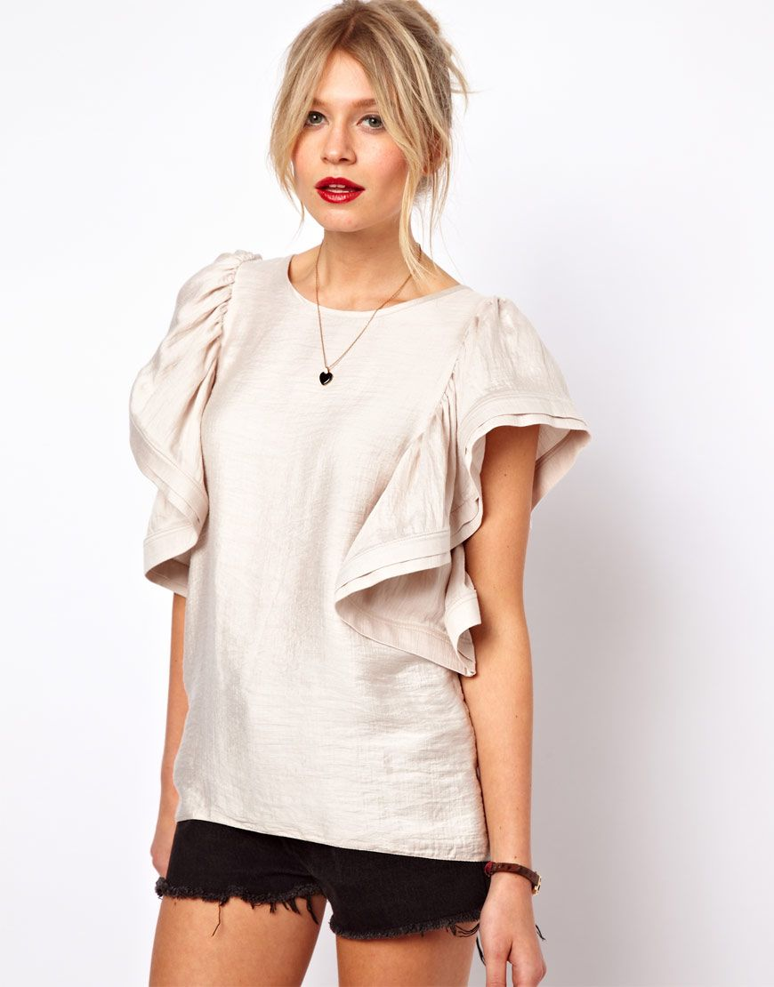 af38d39a77124d #webwants DDG Editor's shopping list - So pretty. Buy it in every colour.  Ruffle sleeve silk top $64