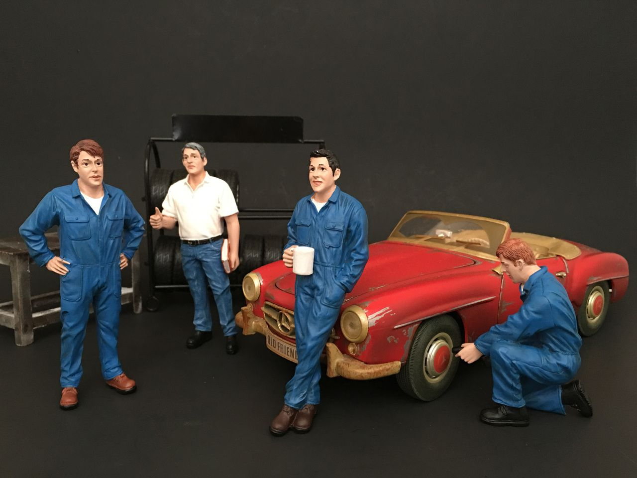 Sitting Mechanics 2 piece Figurine Set for 1//18 Scale Models by American