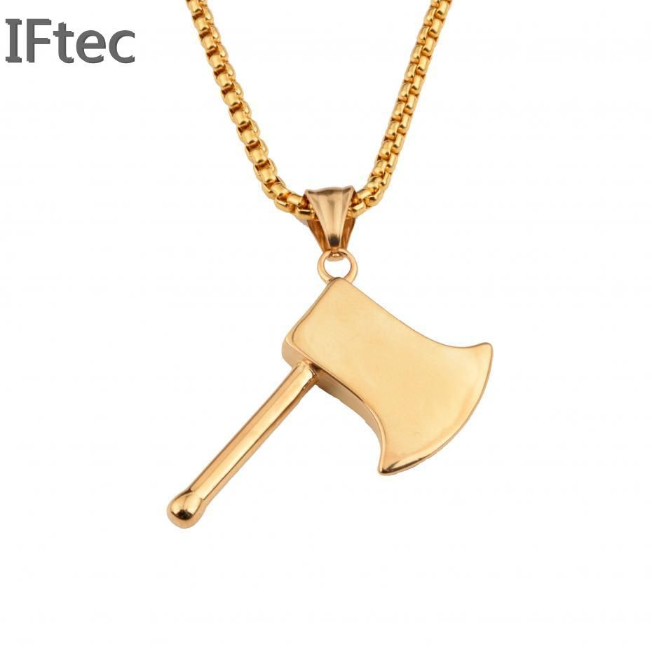 L stainless steel gold necklaces u pendant fashion punk style ax