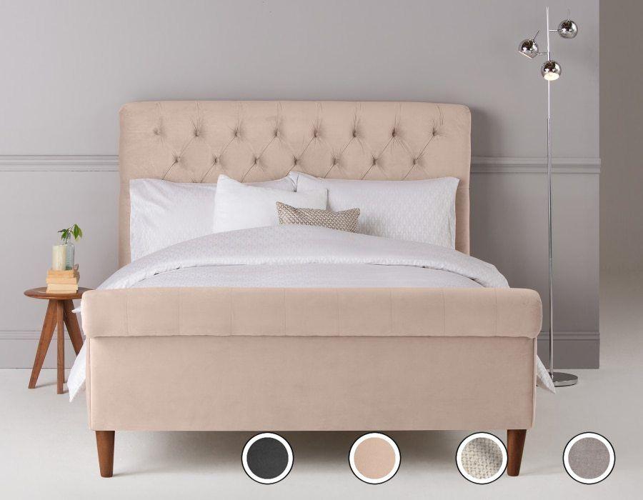 Orkney Kingsize Bed Stone Velvet Pink Headboard Velvet Bed Bed